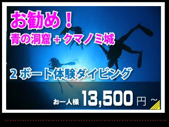 お勧め!青の洞窟+クマノミ城お一人様13.500円~