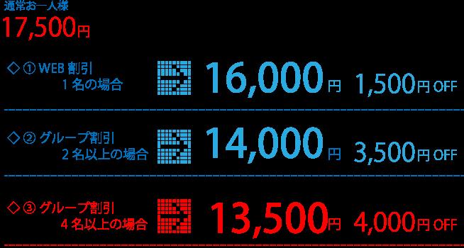 料金表:通常お一人様17.500円、①WEB割引1名の場合→16.000円(1.500円割引)、②グループ割引2名以上の場合→14.000円(3.500円割引)、③グループ割引4名以上の場合→13.500円(4.000円割引)