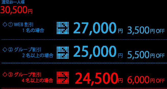 料金表:通常お一人様30.500円、①WEB割引1名の場合→27.000円(3.500円割引)、②グループ割引2名以上の場合→25.000円(5.500円割引)、③グループ割引4名以上の場合→24.500円(6.000円割引)