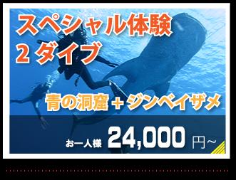 スペシャル体験2ダイブ青の洞窟+ジンベイザメお一人様24.000円~