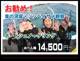お勧め!青の洞窟+ジンベイザメ観察ボートシュノーケリング